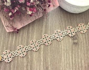 Tatting lace bracelet pdf pattern (Meridian)