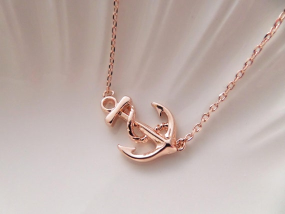 Rose Gold or Gold Ships Anchor Necklace sideways anchor