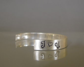 Sterling silver mens cuff bracelet, I love you bracelet, Hand stamped cuff bracelet, Mens jewelry made to order