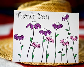 Thank You Card - Coneflowers - Purple - Petals - Boxed Notecards - Gift for Her - Mothers Day - Boxed or Single - Procreate - Free Shipping