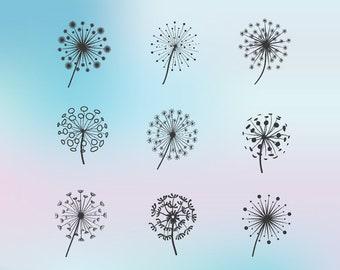 Set of Dandelions SVG- Silhouette Dandelion Digital Design- Stencils Dandelion- DXF Studio- Cricut Dandelion file- Clipart- Commercial Use