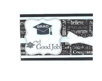 Graduation Card, Black and White with White Ribbon, Good Job Grad Graduation Cap for College or High School Female Male Graduates
