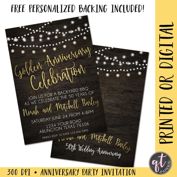 Golden Anniversary Invitation Th Anniversary Invitation