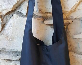 Black nylon hobo bag. Nylon handbags, nylon sling bag, black boho bag, crossbody bag, black nylon bag, black slouch bag, black handbags