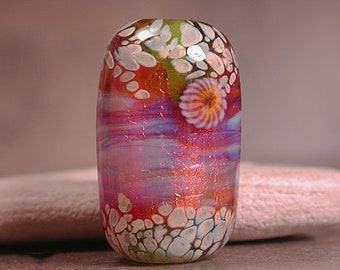Lampwork Focal Bead, Artisan Glass Focal Bead, Lampwork Glass Beads, Lampwork Fire Opal Series, Divine Spark Designs, SRA