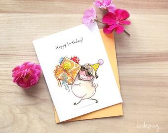 Wrapped it Myself pug birthday card - cute happy birthday pug with big present, funny birthday card by Inkpug