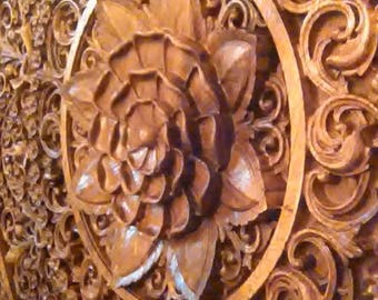 Mandala, Wood carving, Oriental Home decor, wood wall art, Wooden Bed Panel, Oriental Wall ornaments