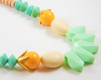 Bright necklace, Long necklace, Statement necklace,  Beaded necklace, Mint necklace, Unique jewelry, Unique necklace, Gift for her, Chunky