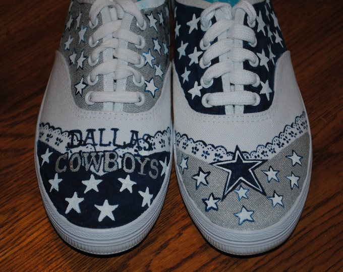 New Hand Painted Dallas Cowboys design without the platform style size 7 SOLD  these are not for sale just sample
