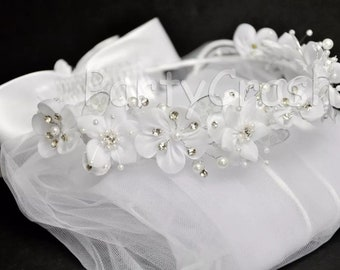 First Communion Veil Flowers Beads Tulle Headpiece