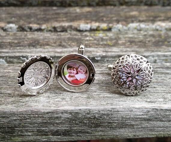 Custom Photo Cufflinks. Filigree Locket. Wedding, Men, Anniversary, Father's Day, Christmas Gift, Dad, Birthday. Custom Orders Welcome.