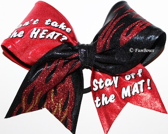 Cant Take the Heat Flames Cheer Bow by Funbows !