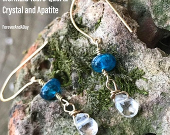 Edelstein, Meerjungfrau Tränen, Apatit und Schnitt Kristall Edelsteine Gold gefüllt Ohrringe