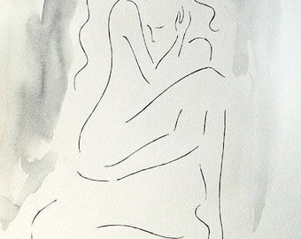 Erotic couple sketch. Art for bedroom. Black and white watercolor and ink drawing. A3, embrace, sexy, nude.