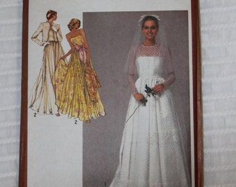 Bridal or Bridesmaid Gown Dress1980s Vintage Sewing Pattern SIMPLICITY 9364, UNCUT