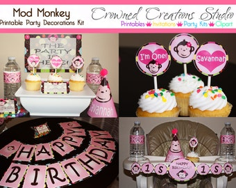 Mod Monkey Girl's Birthday Party Package - Printable Kit - Banner, Cupcake Toppers, Party Hat, Water Bottle Labels, Favour Tags