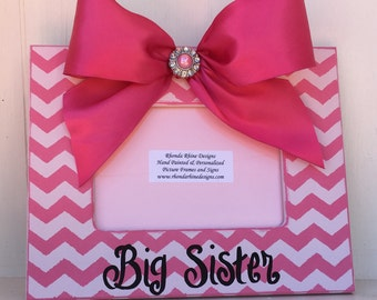 4x6 pink chevron frame with jeweled bow