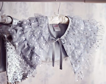 Silver Ruffled Capelet