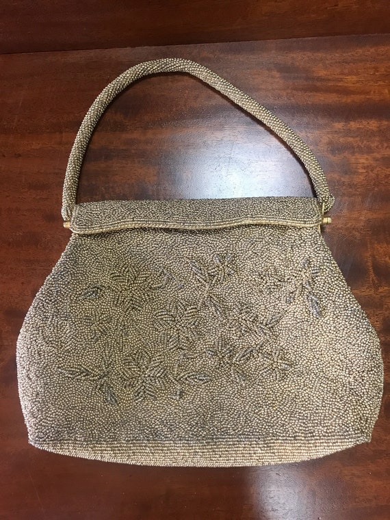 Gold beaded vintage bag from British Crown Colony