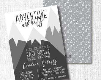 Mountain Adventure Awaits Baby Shower Invitation, Printable, Monochromatic Invite, Grey, Black, Begins, Gender Neutral, Simple, Modern