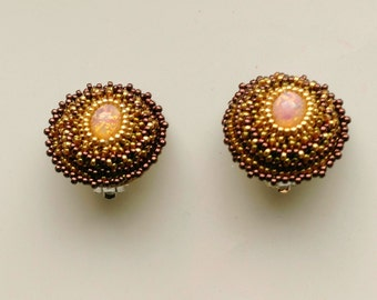 Beadwoven Opalite Clip on Earrings . Golden and Bronze Beadwork Silver Plated Clips . 25 mm - Gold Sparkle Opalite by enchantedbeads on Etsy