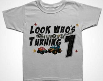 Look Who's Turning? Monster Trucks Birthday T-shirt