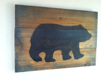 Black Bear on Wood - Large Rustic Hand Painted, Weathered Wall Art , Cabin Decor, Rustic Decor, Primitive Home Decor.