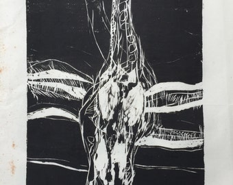Giraffe- woodcut print