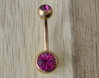 Fuchsia Pink Double Gem Rose Gold Plated Belly Button Ring Navel Body Piercing Jewelry