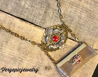 Vintage Repurposed Lipstick Holder Necklace Ornate Necklace Assemblage Necklace Red Crystal