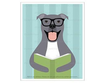 425D Dog Art - Gray Pit Bull Reading Book Wall Art - Funny Dog Drawing - Pitbull Dog - Dog Theme - Reading Nursery Art - Dog Lover Gifts