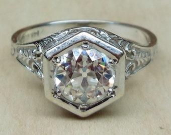 Reserved for ebogatyreva until 4-26 Vintage Antique 6.5mm Old European Cut Moissanite 14k White Gold Engagement Ring 1920 Art Deco Style