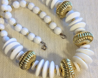 Chunky White and Goldtone Vintage Plastic Beaded Necklace