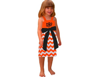 Orange + Black Chevron Dress- Girls