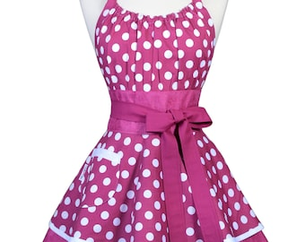 Flirty Chic Pinup Apron - Berry Purple Polka Dot Rockabilly Apron - Womens Sexy Cute Retro Kitchen Apron with Pocket - Monogram Option