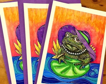 Theodora the Old Toad Enchanted Forest fairytale fantasy whimsical A5 greeting card illustration pop art oil pastel polychrome ink