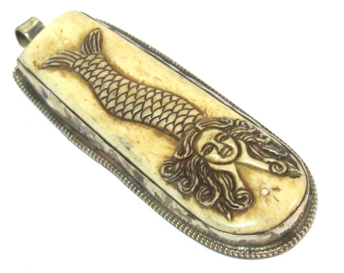 OOAK - Unique long large size reversible  carved cattle bone pendant with intricate mermaid carving on both sides  - PB008C