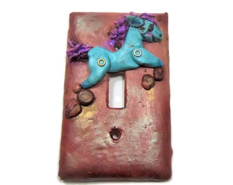 Decorative Switchplate Cover - Blue Horse Light Switch - Polymer Clay Switch Plate Cover - Boys room