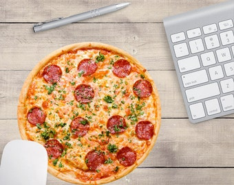 Pizza Mouse Pad, Pepperoni Pizza Mouse Pad, Teenager Mouse Pad, PIzza Coaster, Food Mouse Pad, Food Coaster (0032)