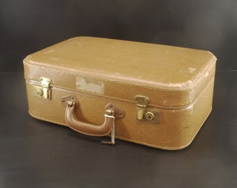 French vintage Cardboard Suitcase with Keys, Retro holiday Cabin Luggage, Mid Century Home Decor