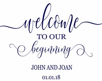 welcome to our beginning, wedding welcome sign, printable welcome sign, vintage wedding sign, rustic welcome to our wedding