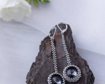 Silver Minimal Earrings, Dangle Drop earrings, Crystal Seed bead earrings for woman, Elegant earrings, Unique gift earrings for her, Jewelry