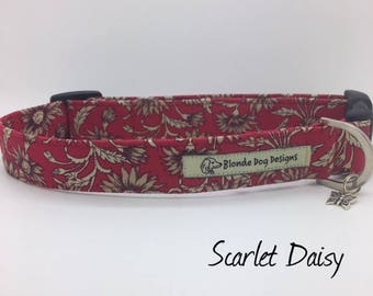 Floral Dog Collar, Scarlet Daisy, Pretty Dog Collar, Daisy Dog Collar, Dog Collar UK