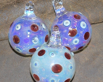 Set Of 3 Glass Bauble Christmas Decorations - Lampwork Decoration - Flamework Ornament - Glass Bauble