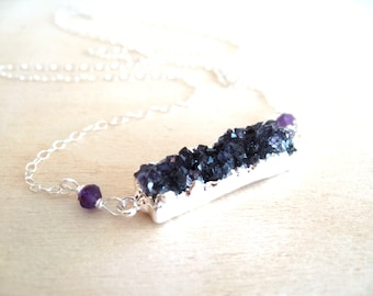 Amethyst druzy bar necklace drusy jewelry Statement necklace minimalist February birthday gift for her under 75 Vitrine