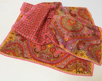Vintage Vera Neumann Scarf, Vera Ladybug Scarf, Psychedelic Scarf, Pink Red And Yellow, 1970s