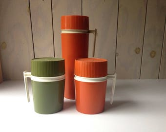 Vintage Thermos Set in Orange and Green. Set of 3. Tall and sort Thermos Set.
