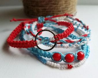 Red, White & Blue Surfer Bracelet Pack, Friendship Bracelet Set, Waterproof Wax Cord, Adjustable Boho Bracelet, Set of 5
