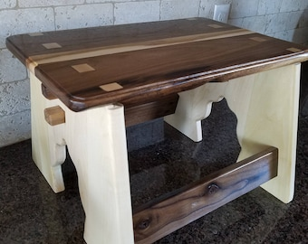 Wood Stepstool, hand made out of maple and walnut wood