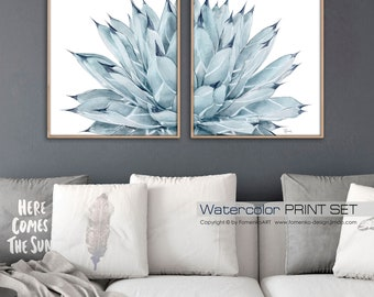 Botanical Print Set Watercolor Painting Cactus Print Large Wall Art Prints Wall  Art Set Of 2 Print Wall Decor Bedroom Wall Decor Living Room